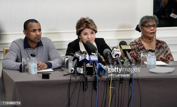 Gary Dennis and wife Sallie represented by attorney Glorida Allred hold a press conference to discuss alleged new R Kelly tape at Lotte New York...