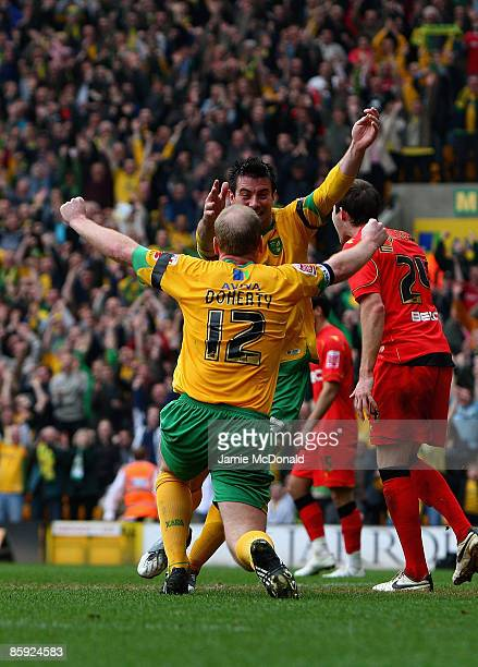 Gary Doherty of Norwich celebrates his goal with Alan Lee during the Coca Cola Championship match between Norwich City and Watford at Carrow Road on...