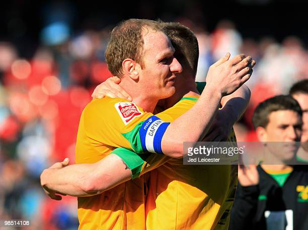 Gary Doherty of Norwich City celebrates promotion to the Championship with goalscorer Michael Nelson at the end of the CocaCola League One match...
