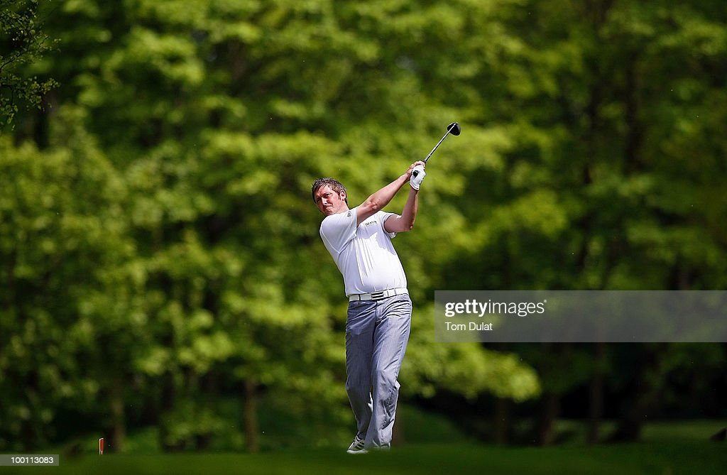 Gary Donnison of Mobberley tees off from the 6th hole during the Virgin Atlantic PGA National Pro-Am Championship Regional Qualifier at Dunham Forest Golf and Country Club on May 21, 2010 in Manchester, England.