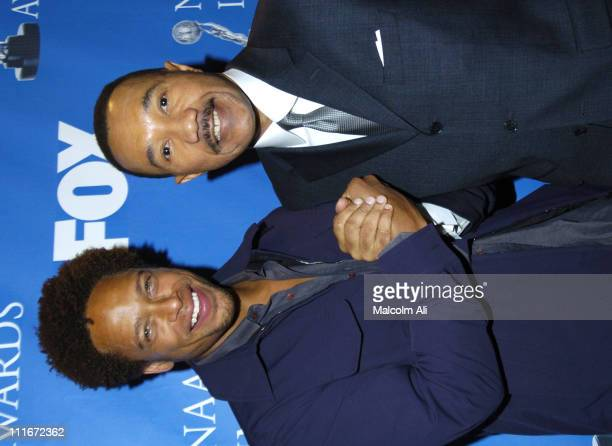 Gary Dourdan and Kweisi Mfume during 35th NAACP Image Awards Nominations at The Four Seasons in Los Angeles California United States