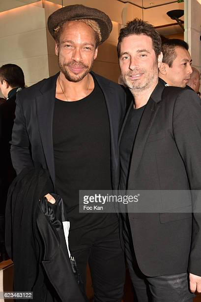 Gary Dourdan and Richard Orlinski attend the Longines Masters Press Conference at Hotel Park Hyatt Paris Vendome on November 15 2016 in Paris France