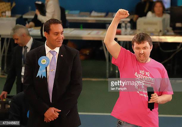 Gary Duncan, standing for the Trade Union and Socialist Coalition, reacts during the declaration on May 7, 2015 in Sunderland, England. The United...