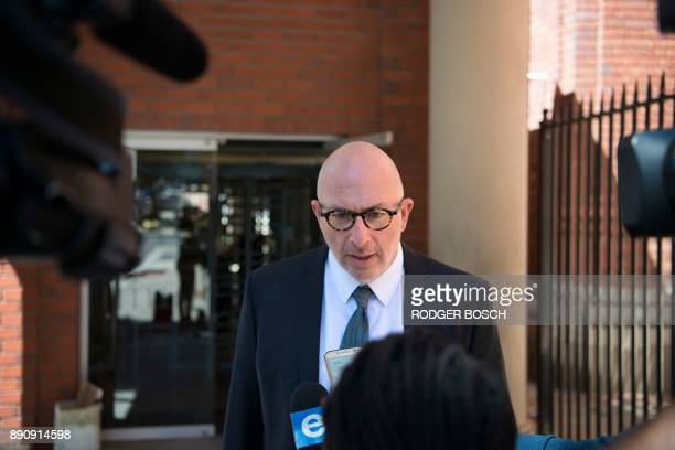 Gary Eisenberg lawyer of a Dutch convicted arms dealer speaks to media outside the Cape Town Magistrate's court where his client's bail application...