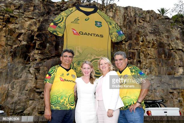 Gary Ella Queensland Minister for Sport Kate Jones Counselor Krista Adams and Glen Ella pose for a photo during the Australian Wallabies media...
