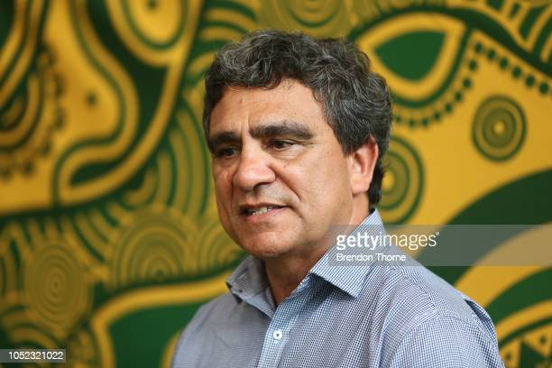 Gary Ella speaks during a Rugby Australia Wallabies Indigenous Jersey Media Opportunity at Moore Park on October 17 2018 in Sydney Australia