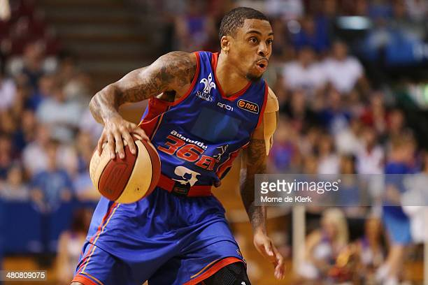 Gary Ervin of the 36ers brings the ball forward during game one of the NBL Semi Final series between the Adelaide 36ers and the Melbourne Tigers at...
