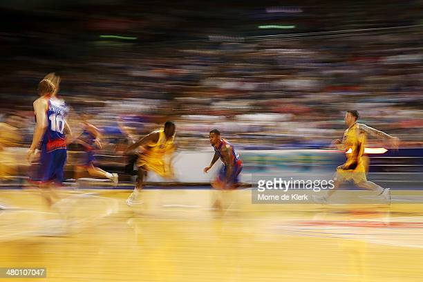 Gary Ervin of the 36ers brings the ball forward during the round 23 NBL match between the Adelaide 36ers and the Melbourne Tigers at Adelaide Arena...