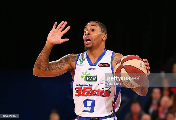 Gary Ervin of the 36ers calls a play during the round one NBL match between the Perth Wildcats and the Adelaide 36ers at Perth Arena in October 11,...