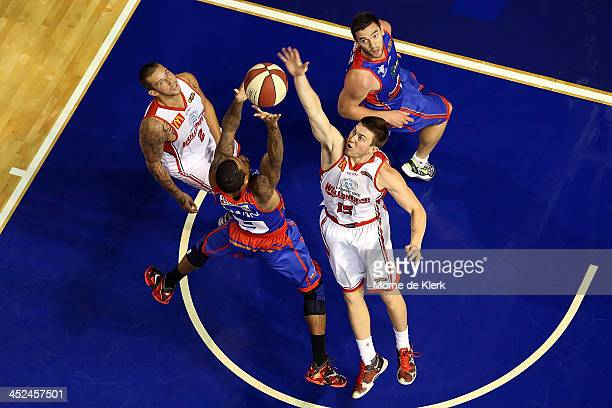 Gary Ervin of the 36ers shoots for the basket during the round eight NBL match between the Adelaide 36ers and the Wollongong Hawks at Adelaide Arena...
