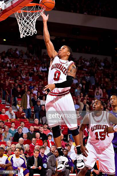 Gary Ervin of the Arkansas Razorbacks goes up for a layup against the LSU Tigers at Bud Walton Arena on February 20, 2008 in Fayetteville, Arkansas....