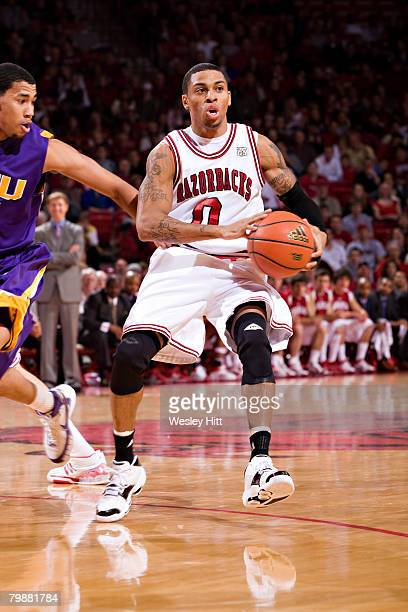 Gary Ervin of the Arkansas Razorbacks makes a pass against the LSU Tigers at Bud Walton Arena on February 20, 2008 in Fayetteville, Arkansas. The...