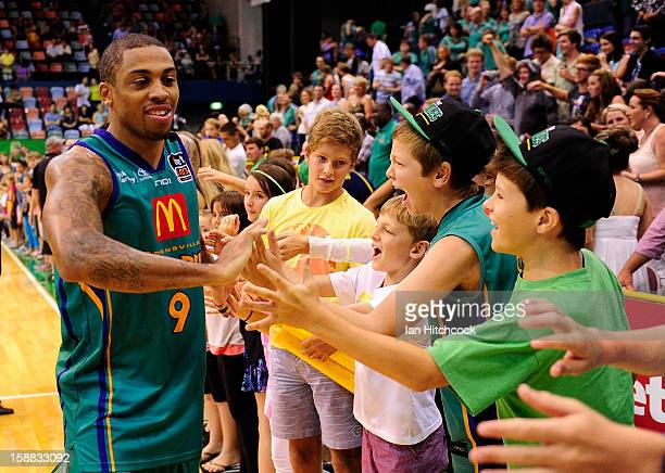 Gary Ervin of the Crocodiles acknowledges the crowd after winning the round 12 NBL match between the Townsville Crocodiles and the Adelaide 36ers at...