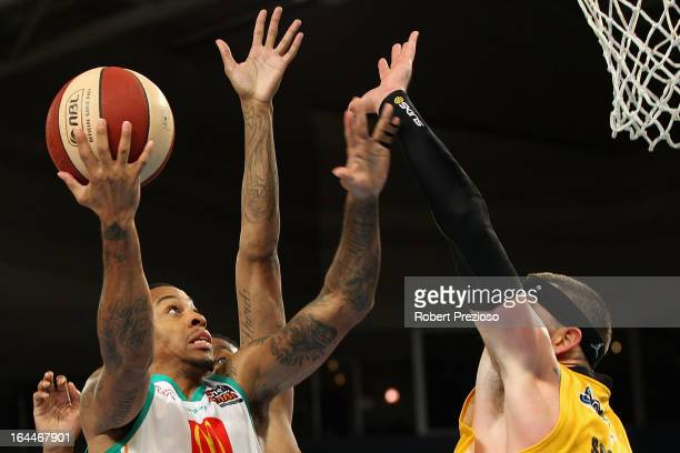Gary Ervin of the Crocodiles drives to the basket during the round 24 NBL match between the Melbourne Tigers and the Townsville Crocodiles at Hisense...