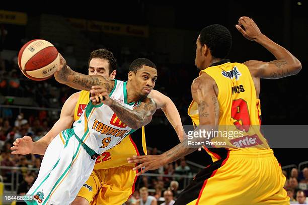 Gary Ervin of the Crocodiles makes a pass during the round 24 NBL match between the Melbourne Tigers and the Townsville Crocodiles at Hisense Arena...