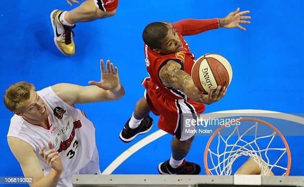 Gary Ervin of the Hawks drives to the basket during the round five NBL match between the Wollongong Hawks and the Melbourne Tigers at Wollongong...