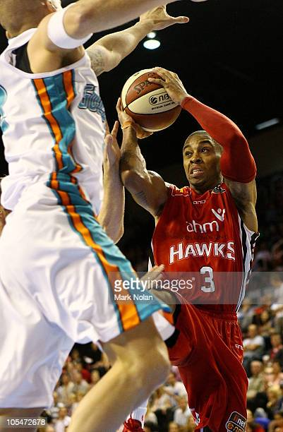 Gary Ervin of the Hawks drives to the basket during the round one NBL match between the Wollongong Hawks and the Gold Coast Blaze at Wollongong...