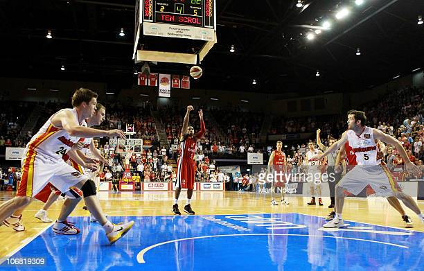 Gary Ervin of the Hawks shoots from the free throw line during the round five NBL match between the Wollongong Hawks and the Melbourne Tigers at...