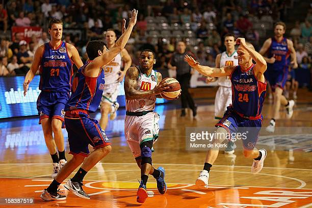 Gary Ervin of Townsville goes for the basket during the round 11 NBL match between the Adelaide 36ers and the Townsville Crocodiles at Adelaide Arena...