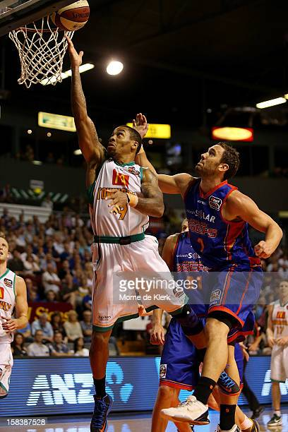 Gary Ervin of Townsville shoots for the basket during the round 11 NBL match between the Adelaide 36ers and the Townsville Crocodiles at Adelaide...