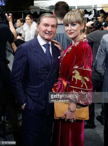 Gary Flom and Svetlana Flom attend Dennis Basso Fall 2016 show New York Fashion Week The Shows at The Arc Skylight at Moynihan Station on February 16...