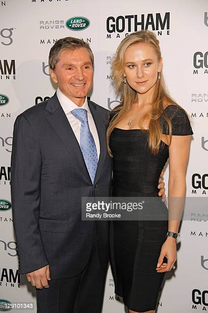 Gary Flom and Svitlana Flom attend the Gotham Magazine Men's Issue cover party at Land Rover of Manhattan on October 12 2011 in New York City
