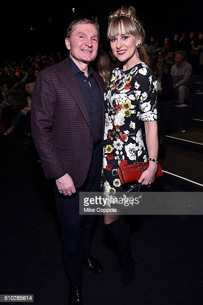Gary Flom and Svitlana Flom attend the Prabal Gurung Fall 2016 fashion show during New York Fashion Week The Shows at The Arc Skylight at Moynihan...