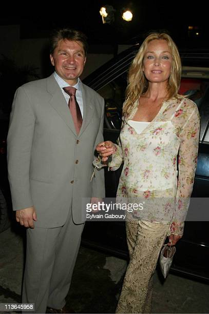 Gary Flom Bo Derek during 2003 Range Rover is Launched With an OffRoad Test Track at Manhattan Land Rover Rooftop in New York New York United States