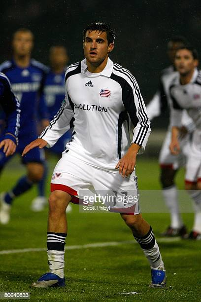 Gary Flood of the New England Revolution defends a corner kick against the Kansas City Wizards during the game at Community America Ballpark on April...