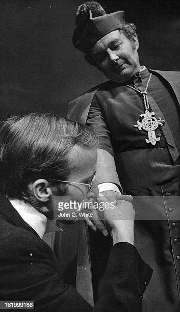 JAN 1972 FEB 10 1972 FEB 13 1972 Gary Foster as an Englishman who fantascizes his elec¡tion to the Papacy receives a blessing from cleric James Mills...