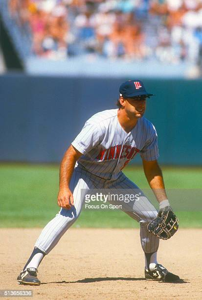 Gary Gaetti of the Minnesota Twins is down and ready to make a play on the ball during an Major League Baseball game circa 1987 Gaetti played for the...
