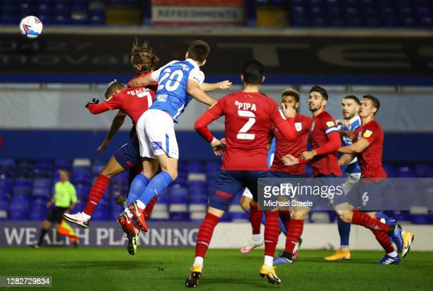 Gary Gardener of Birmingham City scores his sides first goal during the Sky Bet Championship match between Birmingham City and Huddersfield Town at...