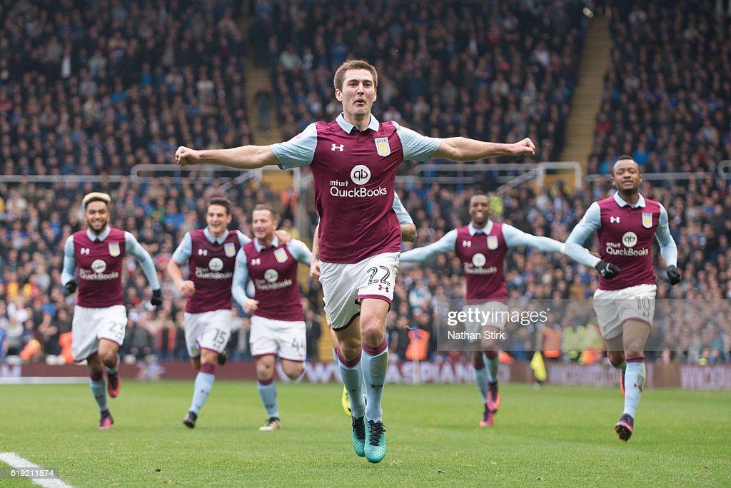 Gary Gardner Of Aston Villa Celebrates During The Sky Bet Championship Match Between Birmingham City And