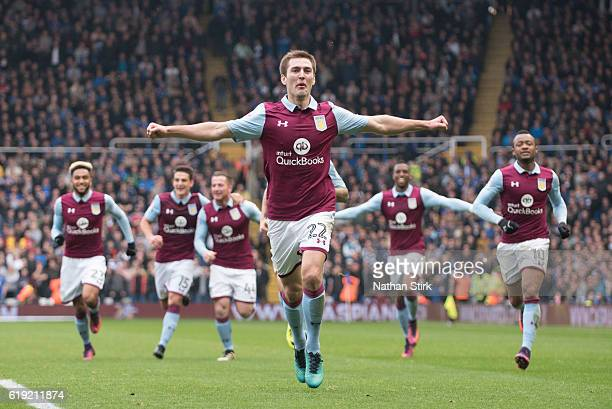 Gary Gardner of Aston Villa celebrates during the Sky Bet Championship match between Birmingham City and Aston Villa at St Andrews Stadium on October...