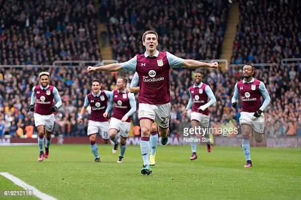 Gary Gardner of Aston Villa celebrates during the Sky Bet Championship match between Birmingham City and Aston Villa at St Andrews Stadium on October...