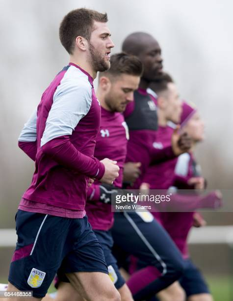 Gary Gardner of Aston Villa in action during a training session at the club's training ground at Bodymoor Heath on March 17 2017 in Birmingham England