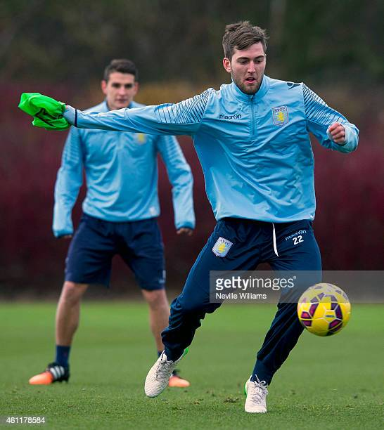 Gary Gardner of Aston Villa in action during an Aston Villa training session at the club's training ground at Bodymoor Heath on January 08 2015 in...