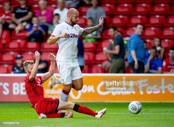 Gary Gardner of Aston Villa in action during the PreSeason Friendly match between Walsall and Aston Villa at the Bescot Stadium on July 17 2018 in...
