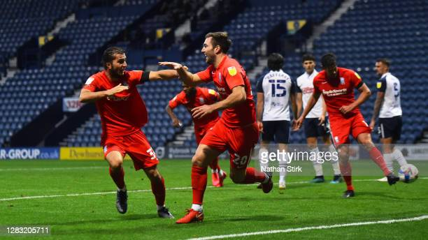Gary Gardner of Birmingham City celebrates as he scores their second goal during the Sky Bet Championship match between Preston North End and...