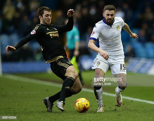 Gary Gardner of Nottingham Forest FC contests Stuart Dallas of Leeds United FC for the ball during the Sky Bet Championship match between Leeds...