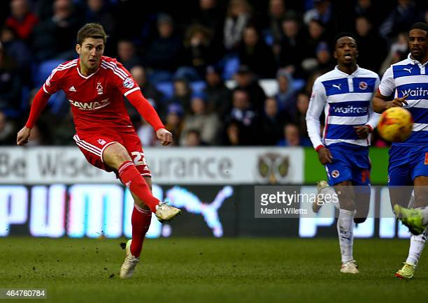 Gary Gardner of Nottingham Forest score his sides third goal during the Sky Bet Championship match between Reading and Nottingham Forest at Madejski...