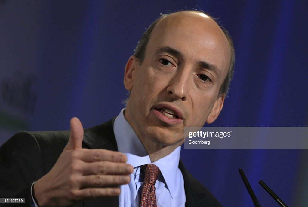 Gary Gensler, chairman of the U.S. Commodity Futures Trading Commission (CFTC), speaks at the Securities Industry and Financial Markets Association (SIFMA) annual meeting in New York, U.S., on Tuesday, Oct. 23, 2012. Swaps market participants will have a grace period before trades are required to be cleared, settling confusion over a rule that will begin early next year, said Gensler. Photographer: Peter Foley/Bloomberg via Getty Images
