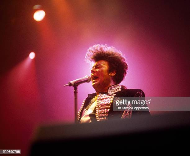 Gary Glitter performing on stage at the Wembley Arena in London on the 16th December 1993