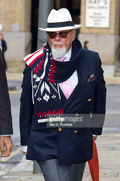 Gary Glitter real name Paul Gadd arrives at Southwark Crown Court charged with historic sex offences on November 11 2014 in London England
