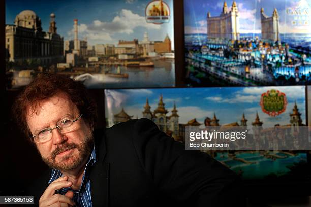 Gary Goddard Entertainment founder Gary Goddard in his North Hollywood office meeting room with posters of projects he has working in China on...