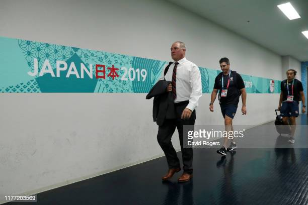 Gary Gold Head coach of USA arrives at the stadium prior to the Rugby World Cup 2019 Group C game between England and USA at Kobe Misaki Stadium on...