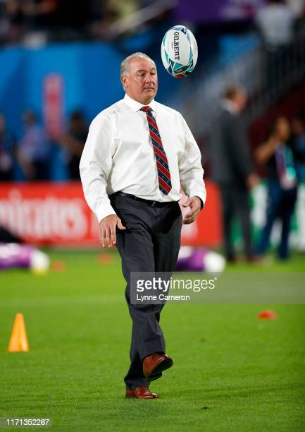 Gary Gold head coach of USA during the Rugby World Cup 2019 Group C game between England and USA at Kobe Misaki Stadium on September 26 2019 in Kobe...
