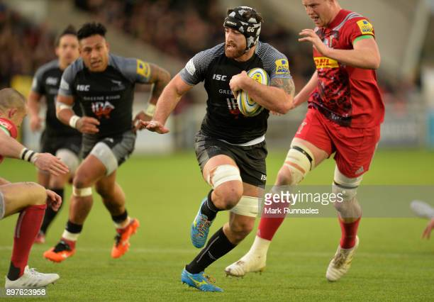 Gary Graham of Newcastle Falcons break free into space during the Aviva Premiership match between Newcastle Falcons and Harlequins at Kingston Park...