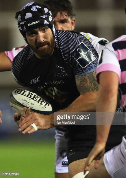 Gary Graham of Newcastle Falcons drives forward during the AngloWelsh Cup match between Newcastle Falcons and Cardiff Blues at Kingston Park on...