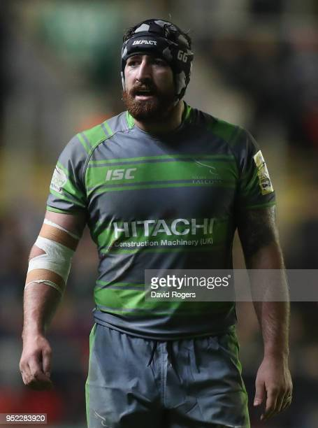 Gary Graham of Newcastle Falcons looks on during the Aviva Premiership match between Leicester Tigers and Newcastle Falcons at Welford Road on April...